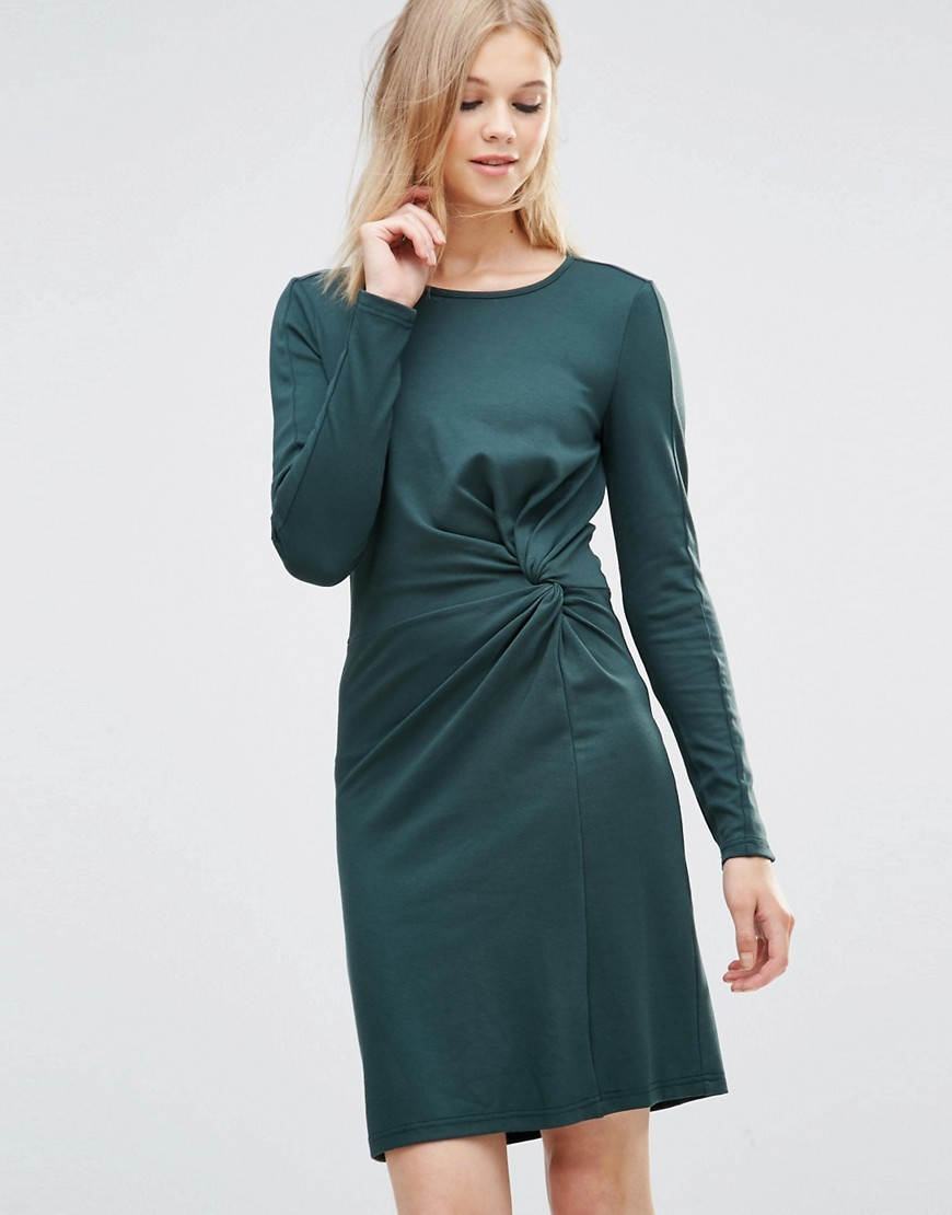 Aia Twist Knot Dress Green Gables - style: shift; neckline: round neck; pattern: plain; waist detail: flattering waist detail; predominant colour: teal; occasions: casual; length: just above the knee; fit: body skimming; sleeve length: long sleeve; sleeve style: standard; pattern type: fabric; texture group: jersey - stretchy/drapey; fibres: viscose/rayon - mix; season: s/s 2016; wardrobe: highlight