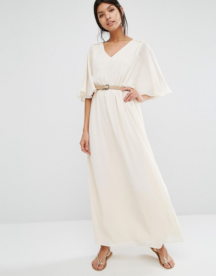 Angel Sleeve Maxi Cream - neckline: v-neck; pattern: plain; style: maxi dress; length: ankle length; waist detail: belted waist/tie at waist/drawstring; predominant colour: ivory/cream; fit: body skimming; fibres: polyester/polyamide - 100%; sleeve length: half sleeve; sleeve style: standard; occasions: holiday; pattern type: fabric; texture group: jersey - stretchy/drapey; season: s/s 2016; wardrobe: holiday