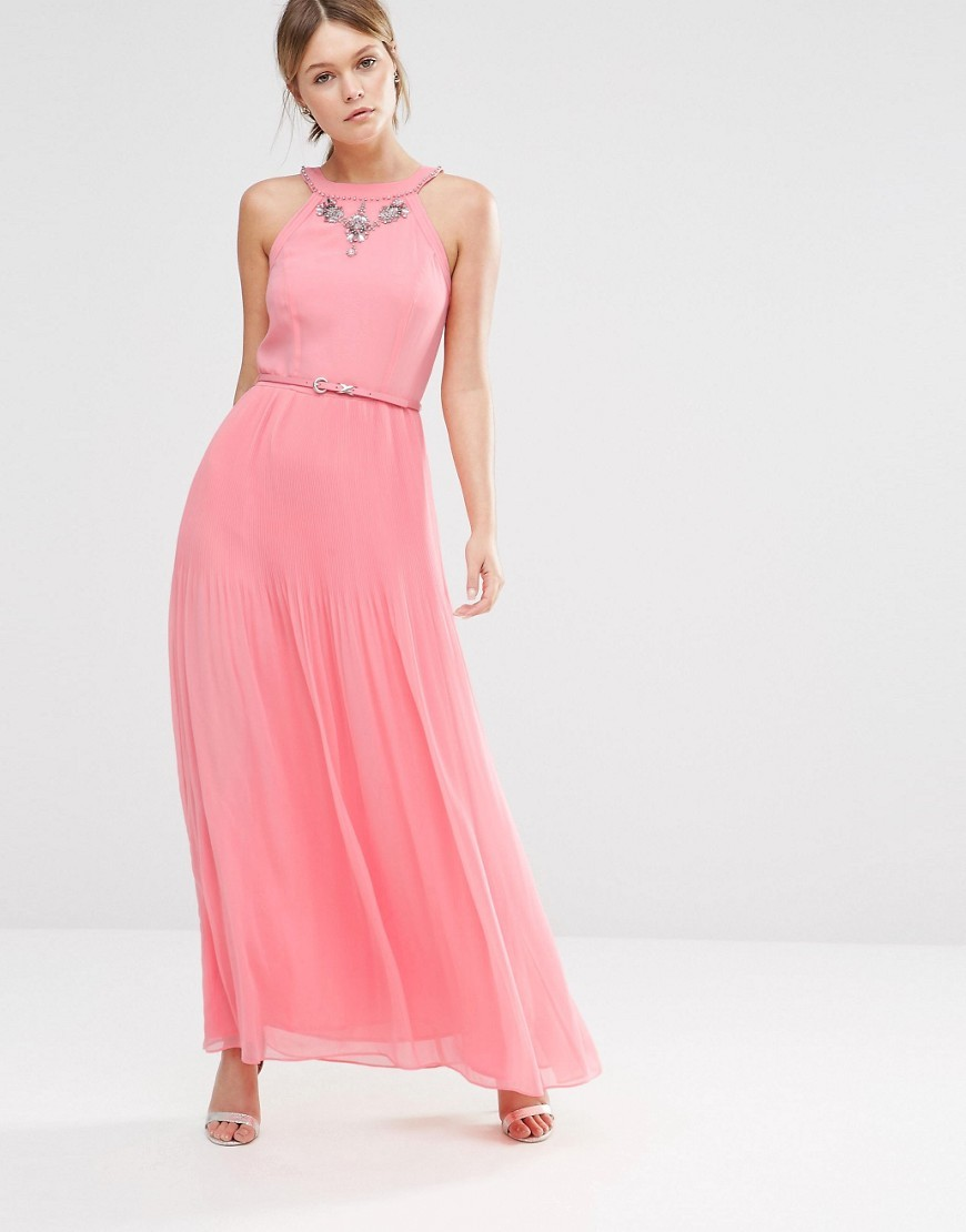Premium Embellished Maxi Dress Blush - pattern: plain; sleeve style: sleeveless; style: maxi dress; length: ankle length; waist detail: belted waist/tie at waist/drawstring; predominant colour: pink; occasions: evening; fit: body skimming; fibres: polyester/polyamide - 100%; neckline: crew; sleeve length: sleeveless; pattern type: fabric; texture group: jersey - stretchy/drapey; embellishment: crystals/glass; season: s/s 2016; wardrobe: event