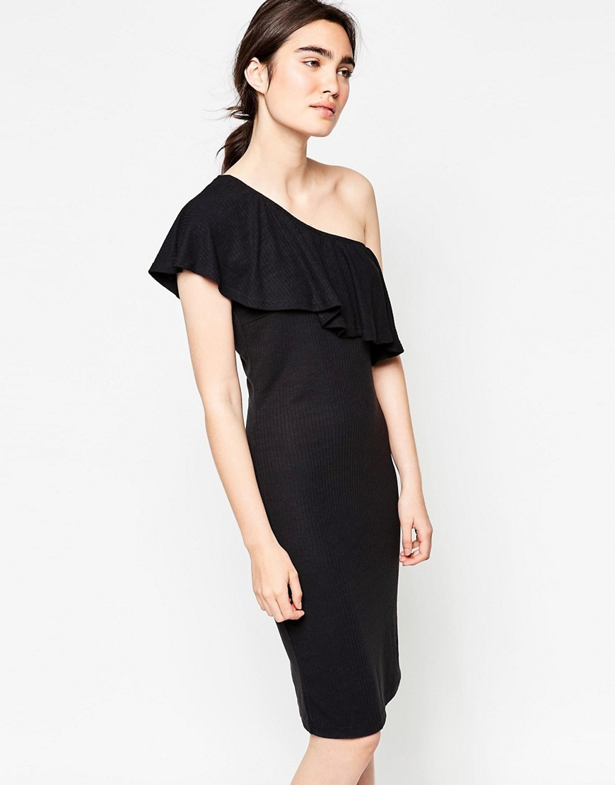 Henta Ruffle One Shoulder Midi Dress Black - style: shift; fit: tight; pattern: plain; sleeve style: sleeveless; neckline: asymmetric; bust detail: ruching/gathering/draping/layers/pintuck pleats at bust; predominant colour: black; occasions: evening; length: on the knee; fibres: polyester/polyamide - stretch; sleeve length: sleeveless; texture group: jersey - clingy; pattern type: fabric; season: s/s 2016