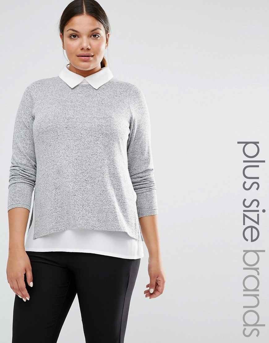 2 In 1 Shirt Grey - pattern: plain; secondary colour: white; predominant colour: light grey; occasions: casual; length: standard; style: top; fibres: viscose/rayon - stretch; fit: body skimming; neckline: no opening/shirt collar/peter pan; sleeve length: long sleeve; sleeve style: standard; texture group: knits/crochet; pattern type: fabric; multicoloured: multicoloured; season: s/s 2016