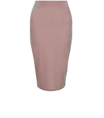 Shell Pink Velvet Pencil Skirt - pattern: plain; style: pencil; fit: body skimming; waist: mid/regular rise; predominant colour: blush; occasions: evening; length: on the knee; fibres: polyester/polyamide - stretch; pattern type: fabric; texture group: velvet/fabrics with pile; season: s/s 2016; wardrobe: event