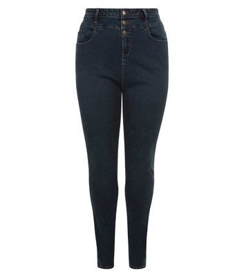 Curves Blue High Waist Skinny Jeans - style: skinny leg; length: standard; pattern: plain; waist: high rise; pocket detail: traditional 5 pocket; predominant colour: navy; occasions: casual; fibres: cotton - stretch; texture group: denim; pattern type: fabric; season: s/s 2016