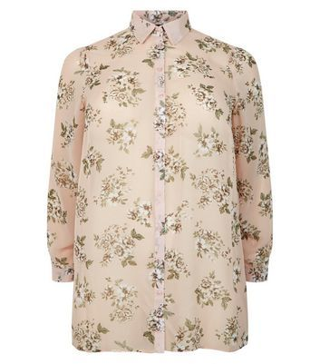 Curves Pink Floral Print Chiffon Shirt - neckline: shirt collar/peter pan/zip with opening; style: shirt; secondary colour: white; predominant colour: blush; occasions: casual; length: standard; fibres: polyester/polyamide - 100%; fit: body skimming; sleeve length: long sleeve; sleeve style: standard; texture group: sheer fabrics/chiffon/organza etc.; pattern type: fabric; pattern: florals; multicoloured: multicoloured; season: s/s 2016; wardrobe: highlight; embellishment location: bust
