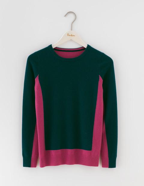 Cashmere Crew Neck Jumper Emerald Night/Hydrangea Women, Emerald Night/Hydrangea - style: standard; secondary colour: hot pink; predominant colour: navy; occasions: casual; length: standard; fit: slim fit; neckline: crew; fibres: cashmere - 100%; sleeve length: long sleeve; sleeve style: standard; texture group: knits/crochet; pattern type: knitted - fine stitch; pattern: colourblock; multicoloured: multicoloured; season: s/s 2016; wardrobe: highlight