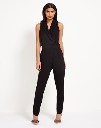 Wrap Front Jumpsuit - length: standard; neckline: v-neck; pattern: plain; sleeve style: sleeveless; predominant colour: black; occasions: evening; fit: body skimming; fibres: polyester/polyamide - stretch; sleeve length: sleeveless; style: jumpsuit; pattern type: fabric; texture group: jersey - stretchy/drapey; season: s/s 2016