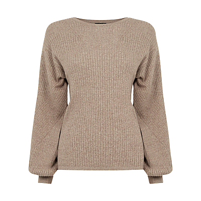 Balloon Sleeve Rib Jumper, Brown - pattern: plain; style: standard; predominant colour: camel; occasions: casual; length: standard; fibres: cotton - 100%; fit: standard fit; neckline: crew; sleeve length: long sleeve; sleeve style: standard; texture group: knits/crochet; pattern type: knitted - fine stitch; season: s/s 2016; trends: chunky knits