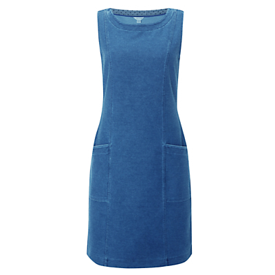 Pinny Sleeveless Jersey Dress, Denim - style: shift; pattern: plain; sleeve style: sleeveless; predominant colour: denim; occasions: casual; length: just above the knee; fit: body skimming; fibres: cotton - stretch; neckline: crew; sleeve length: sleeveless; texture group: denim; pattern type: fabric; season: s/s 2016