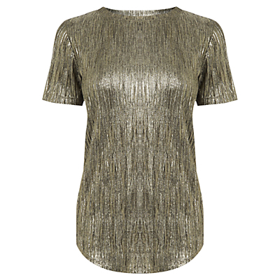 Metallic T Shirt, Gold - pattern: plain; style: t-shirt; predominant colour: gold; occasions: evening; length: standard; fibres: polyester/polyamide - stretch; fit: body skimming; neckline: crew; sleeve length: short sleeve; sleeve style: standard; pattern type: fabric; texture group: other - stretchy; season: s/s 2016; wardrobe: event; trends: metallics