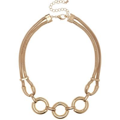 Womens Gold Tone Circle Statement Necklace - predominant colour: gold; occasions: evening, occasion; length: short; size: large/oversized; material: chain/metal; finish: metallic; style: bib/statement; season: s/s 2016; wardrobe: event
