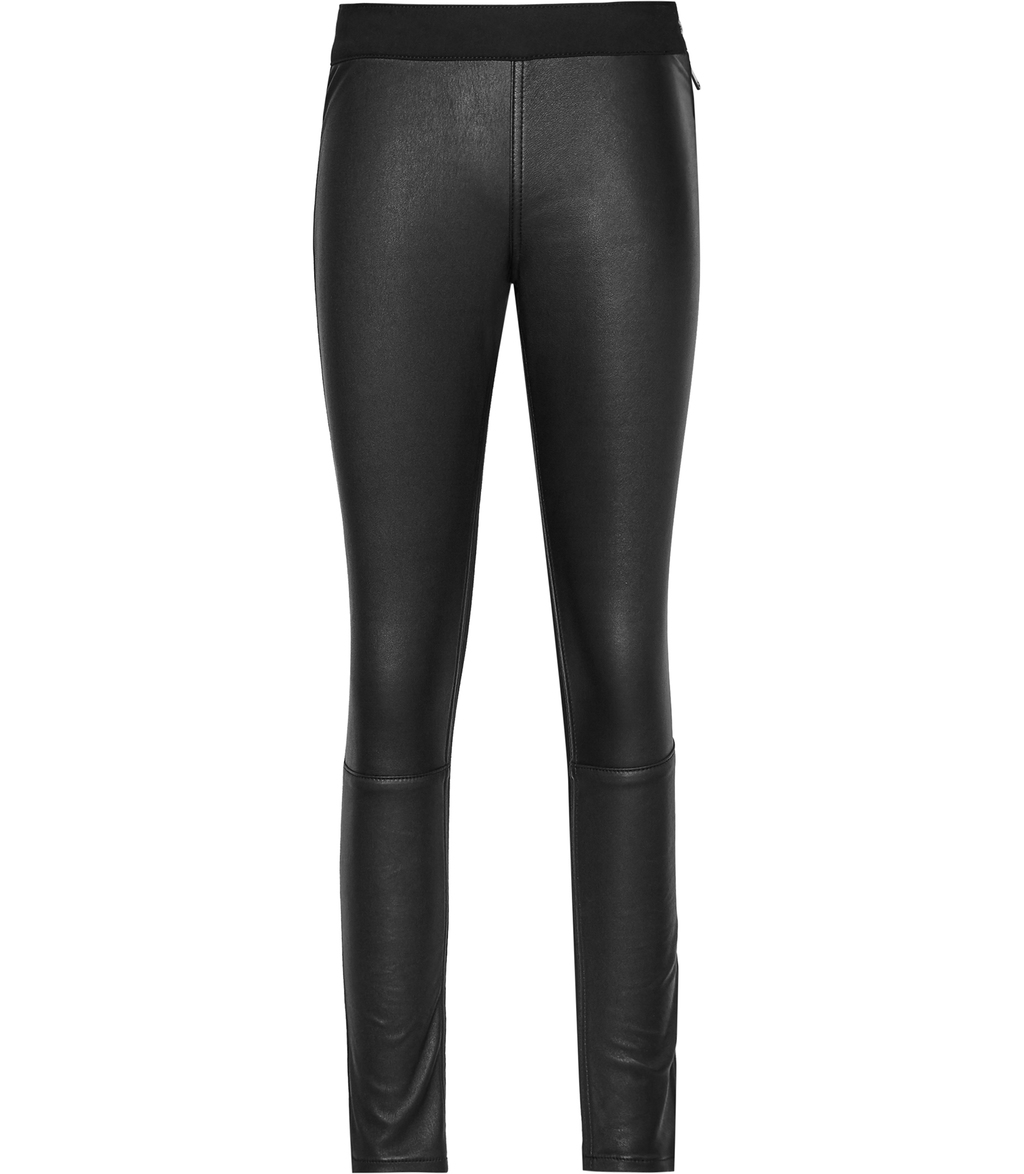 Fade Womens Leather Front Jeans In Black - style: skinny leg; length: standard; pattern: plain; waist: mid/regular rise; predominant colour: black; occasions: casual, evening; fibres: leather - 100%; texture group: leather; pattern type: fabric; season: s/s 2016; wardrobe: highlight