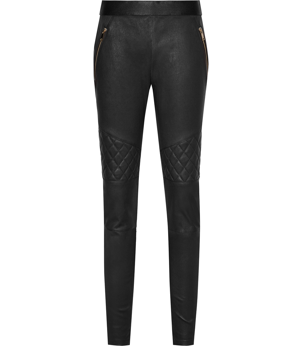 Drift Womens Leather Biker Trousers In Black - length: standard; pattern: plain; waist: mid/regular rise; predominant colour: black; occasions: casual; fibres: leather - 100%; texture group: leather; fit: slim leg; pattern type: fabric; style: standard; season: s/s 2016; wardrobe: highlight