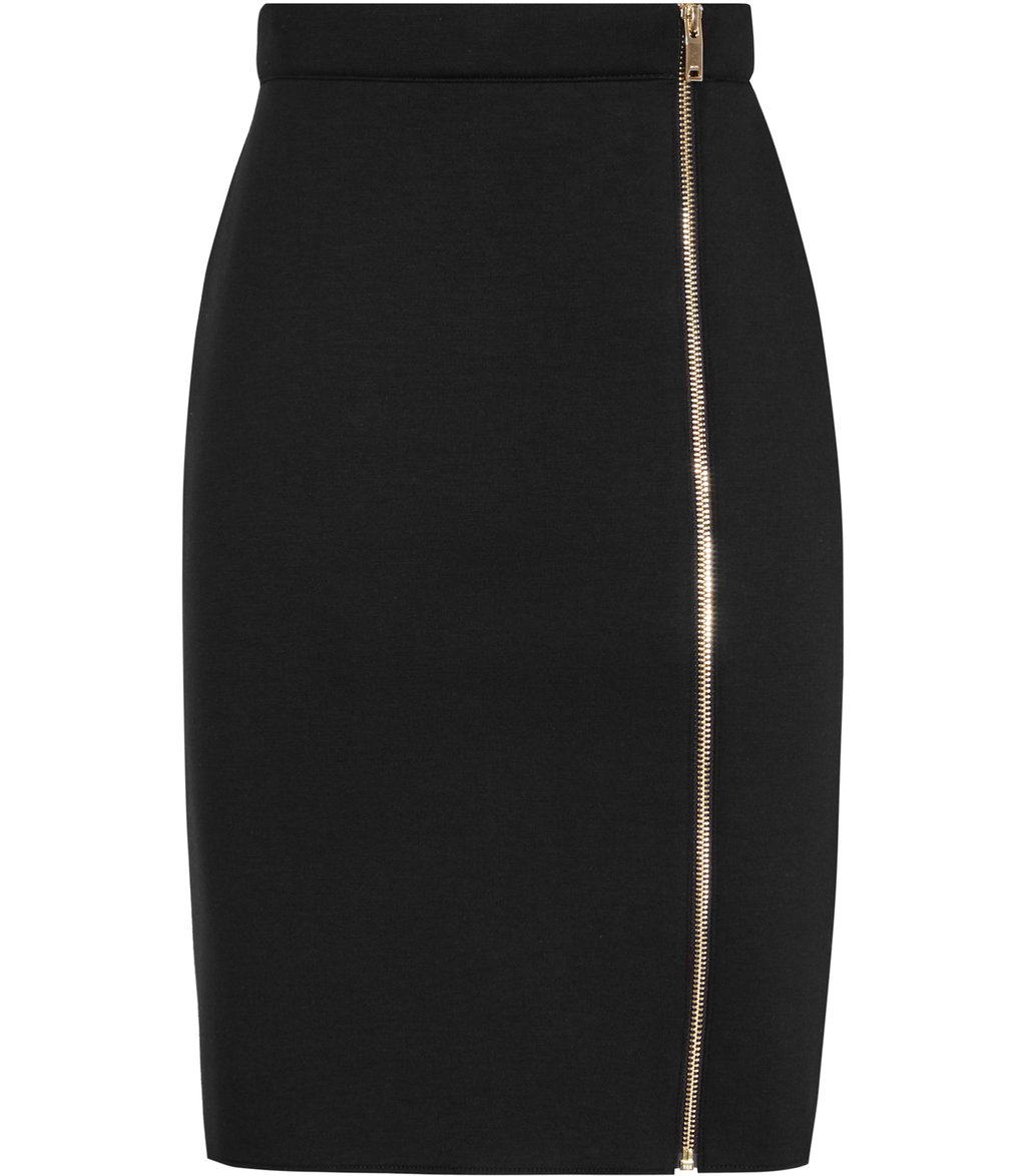 Ria Womens Zip Front Pencil Skirt In Black - pattern: plain; style: pencil; fit: body skimming; waist: mid/regular rise; predominant colour: black; occasions: evening, work; length: just above the knee; fibres: viscose/rayon - stretch; pattern type: fabric; texture group: jersey - stretchy/drapey; season: s/s 2016