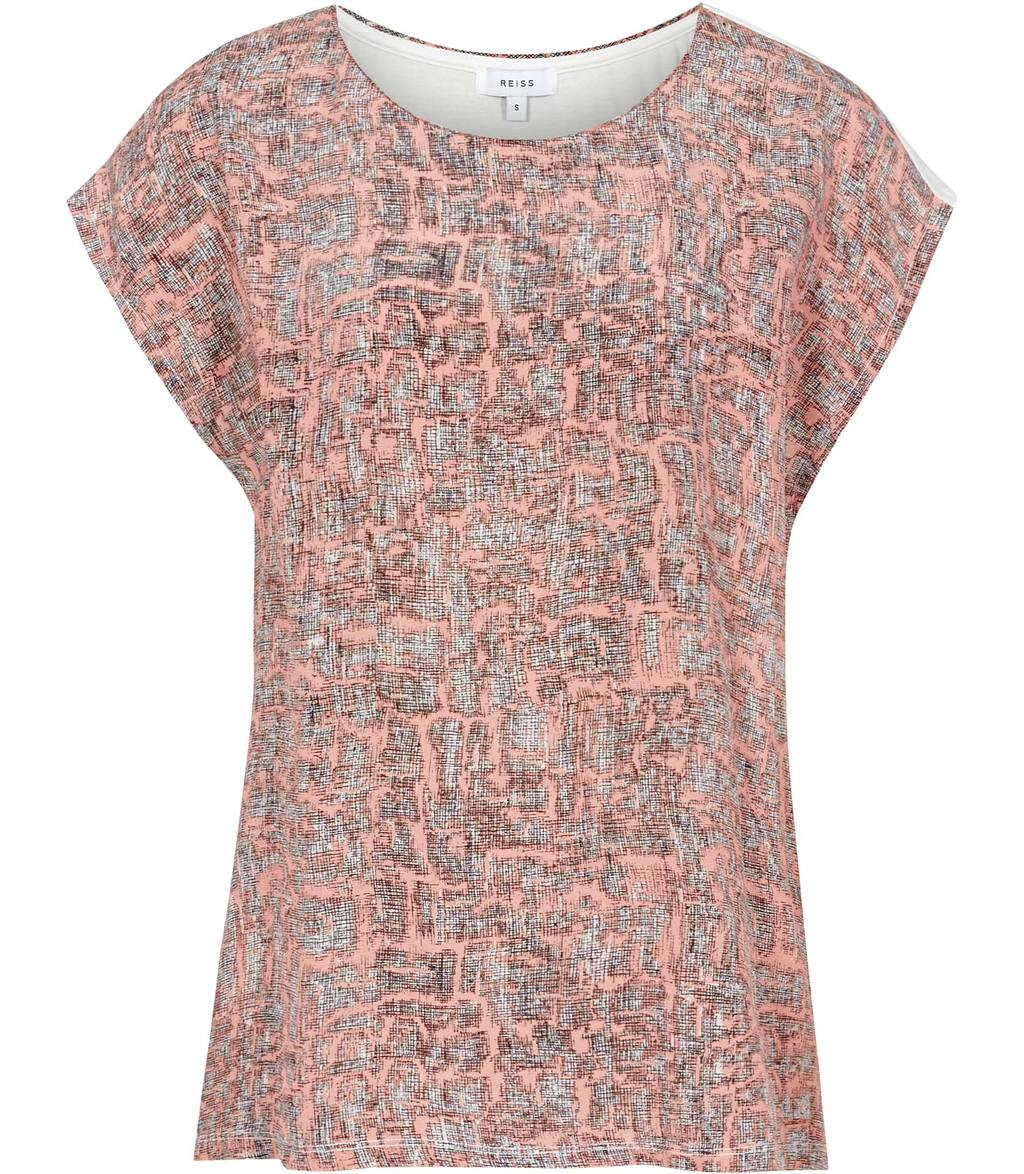 Coco Womens Printed Silk Front T Shirt In Blue - neckline: round neck; sleeve style: capped; style: t-shirt; predominant colour: coral; secondary colour: black; occasions: casual, creative work; length: standard; fibres: silk - 100%; fit: body skimming; sleeve length: short sleeve; texture group: silky - light; pattern type: fabric; pattern size: standard; pattern: patterned/print; season: s/s 2016; wardrobe: highlight