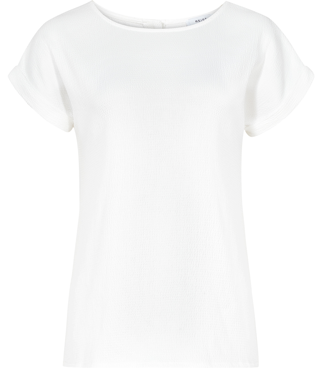 Elsie Womens Button Back Top In White - neckline: round neck; pattern: plain; predominant colour: white; occasions: casual, work, creative work; length: standard; style: top; fibres: polyester/polyamide - 100%; fit: body skimming; sleeve length: short sleeve; sleeve style: standard; pattern type: fabric; texture group: jersey - stretchy/drapey; season: s/s 2016; wardrobe: basic
