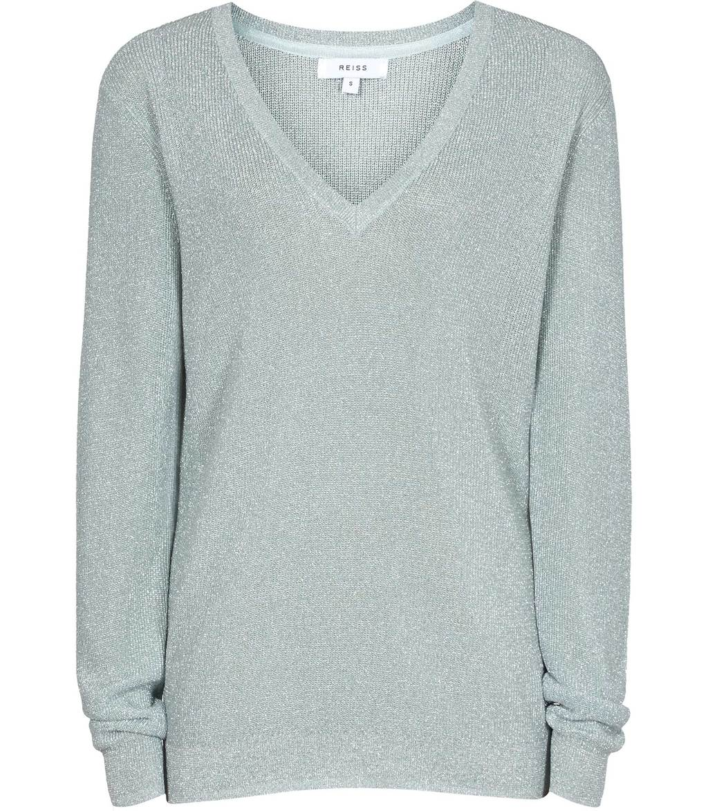 Estee Womens Metallic V Neck Jumper In Green - neckline: v-neck; pattern: plain; style: standard; predominant colour: light grey; occasions: casual; length: standard; fit: slim fit; sleeve length: long sleeve; sleeve style: standard; texture group: knits/crochet; pattern type: fabric; fibres: viscose/rayon - mix; season: s/s 2016; wardrobe: basic