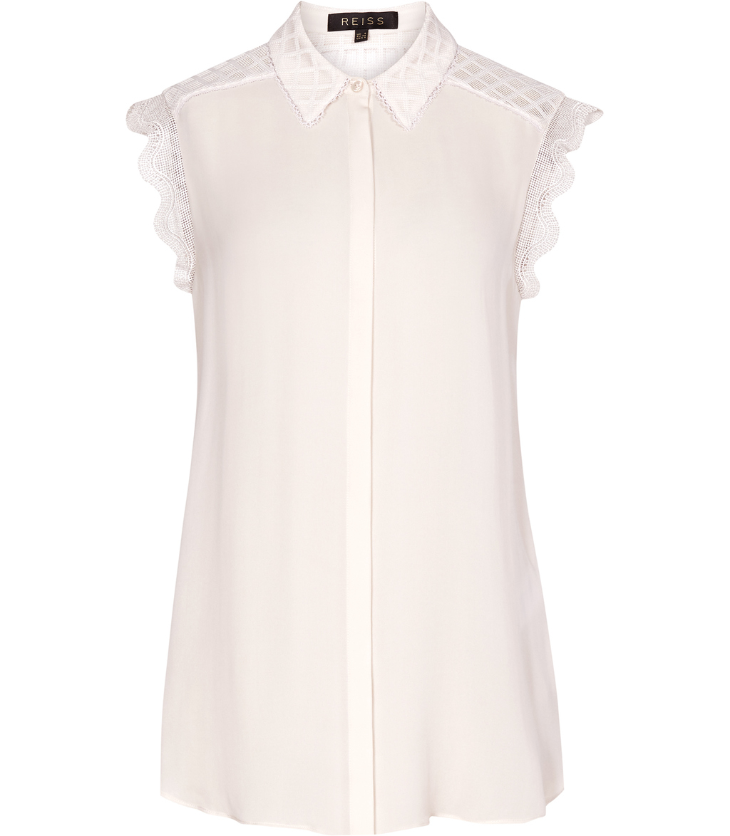 Tobias Womens Lace Trim Shirt In Pink - neckline: shirt collar/peter pan/zip with opening; sleeve style: capped; pattern: plain; length: below the bottom; style: shirt; predominant colour: blush; occasions: casual, work, creative work; fibres: polyester/polyamide - 100%; fit: body skimming; sleeve length: short sleeve; texture group: sheer fabrics/chiffon/organza etc.; pattern type: fabric; embellishment: lace; season: s/s 2016; wardrobe: highlight