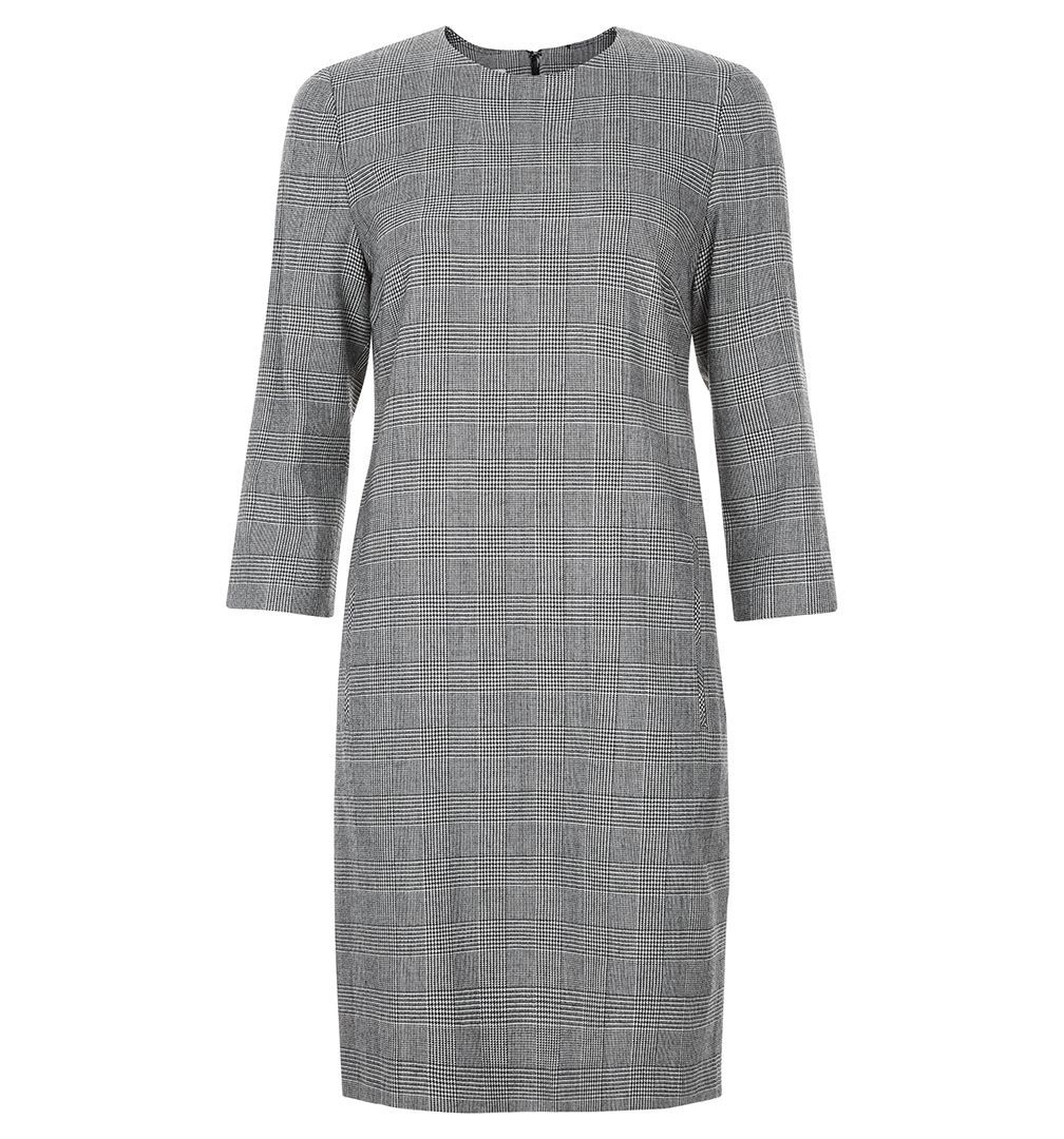 Aivy Dress, Grey - style: shift; fit: tailored/fitted; pattern: checked/gingham; predominant colour: mid grey; occasions: work; length: just above the knee; fibres: wool - mix; neckline: crew; sleeve length: 3/4 length; sleeve style: standard; pattern type: fabric; texture group: other - light to midweight; season: s/s 2016; wardrobe: highlight
