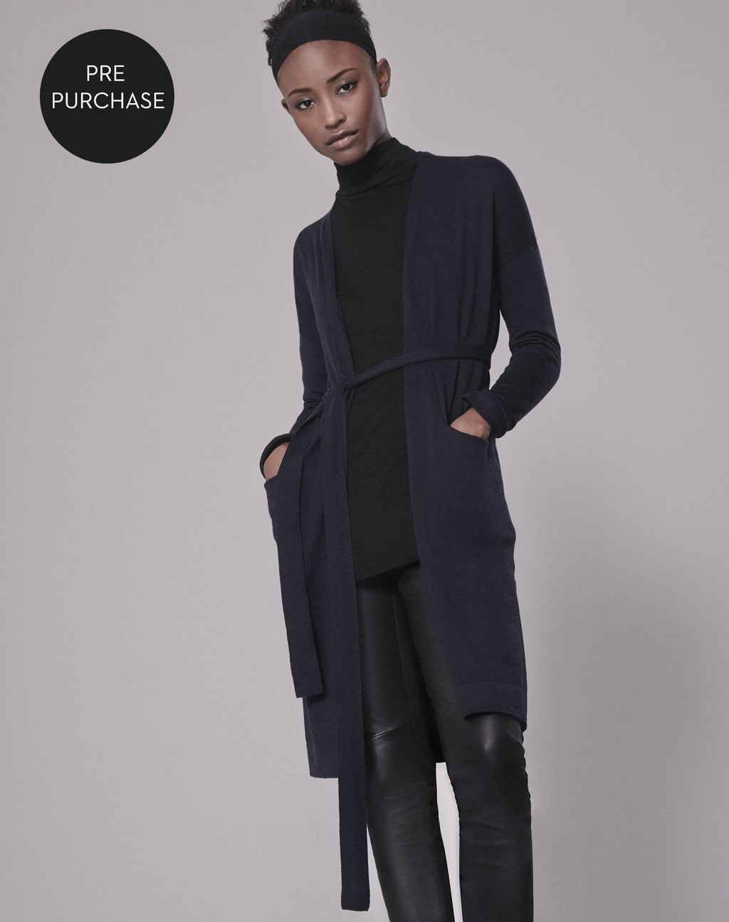 Super Fine Longline Cardigan Navy - pattern: plain; neckline: collarless open; style: open front; length: on the knee; predominant colour: black; occasions: casual; fibres: wool - 100%; fit: slim fit; waist detail: belted waist/tie at waist/drawstring; sleeve length: long sleeve; sleeve style: standard; texture group: knits/crochet; pattern type: fabric; season: s/s 2016; wardrobe: basic