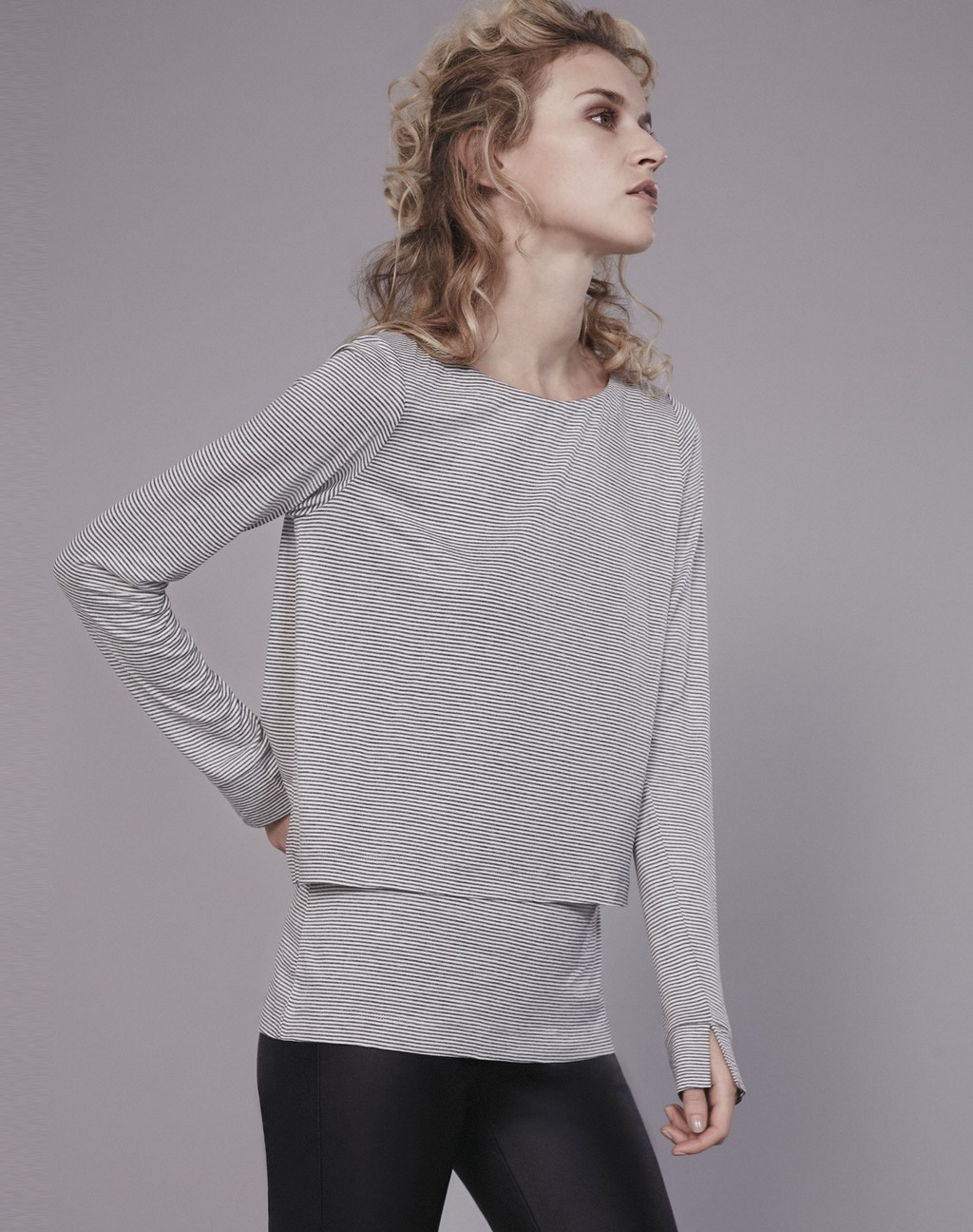 Double Layer Stripe Tee Grey/Soft White - neckline: round neck; pattern: plain; style: t-shirt; predominant colour: mid grey; occasions: casual, creative work; length: standard; fibres: cotton - stretch; fit: loose; sleeve length: long sleeve; sleeve style: standard; pattern type: fabric; texture group: jersey - stretchy/drapey; season: s/s 2016