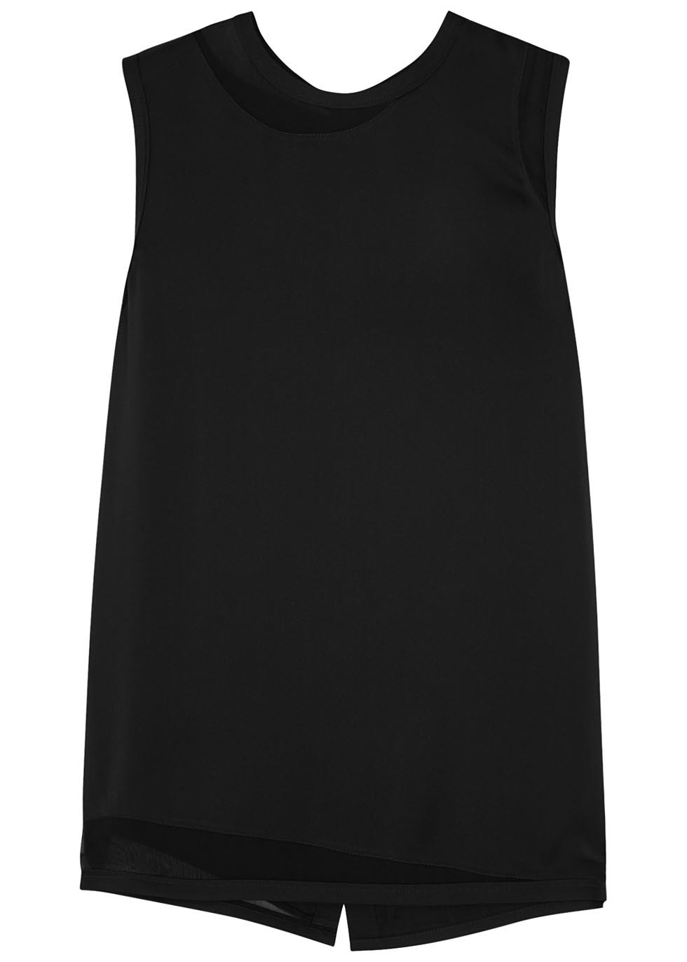 Black Satin And Georgette Top - pattern: plain; sleeve style: sleeveless; style: vest top; predominant colour: black; occasions: evening; length: standard; fibres: silk - 100%; fit: body skimming; neckline: crew; sleeve length: sleeveless; texture group: crepes; pattern type: fabric; season: s/s 2016; wardrobe: event