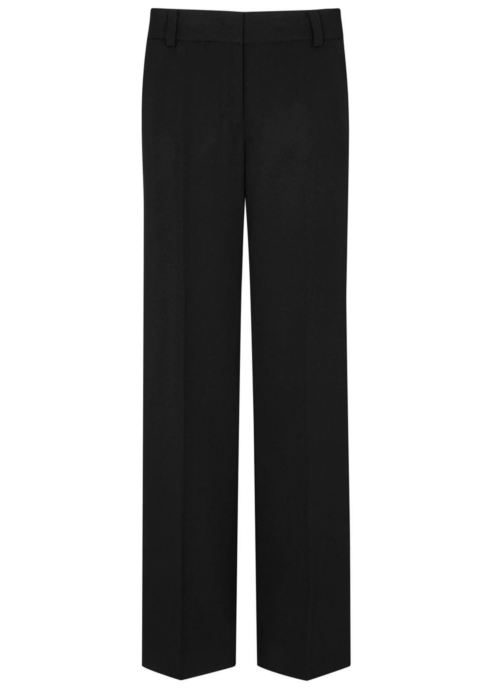 Black Wide Leg Wool Twill Trousers - length: standard; pattern: plain; style: palazzo; waist: mid/regular rise; predominant colour: black; occasions: work; fibres: wool - 100%; fit: wide leg; pattern type: fabric; texture group: other - light to midweight; season: s/s 2016; wardrobe: basic