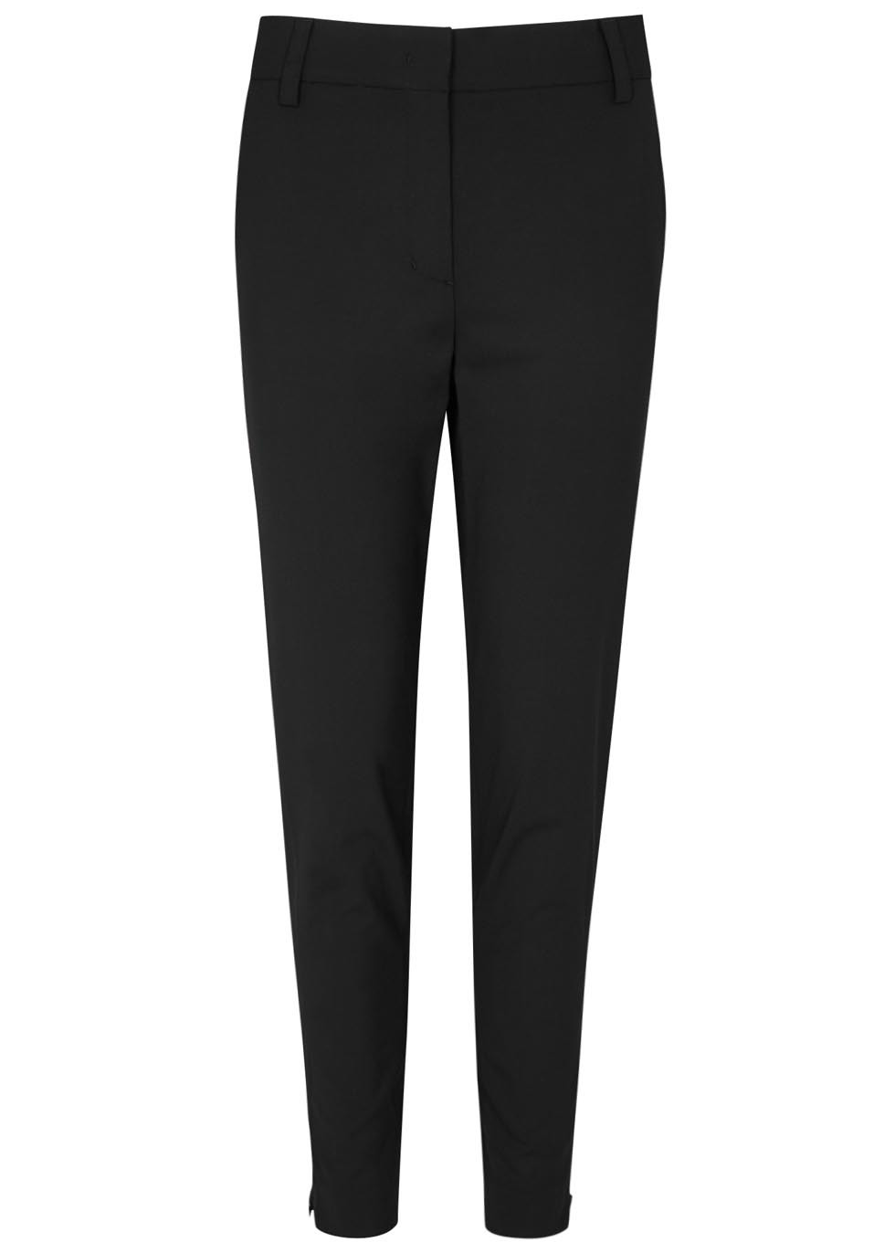Black Slim Leg Stretch Wool Trousers - pattern: plain; waist: mid/regular rise; predominant colour: black; occasions: casual, work, creative work; length: ankle length; fibres: wool - stretch; fit: slim leg; pattern type: fabric; texture group: other - light to midweight; style: standard; season: s/s 2016; wardrobe: basic