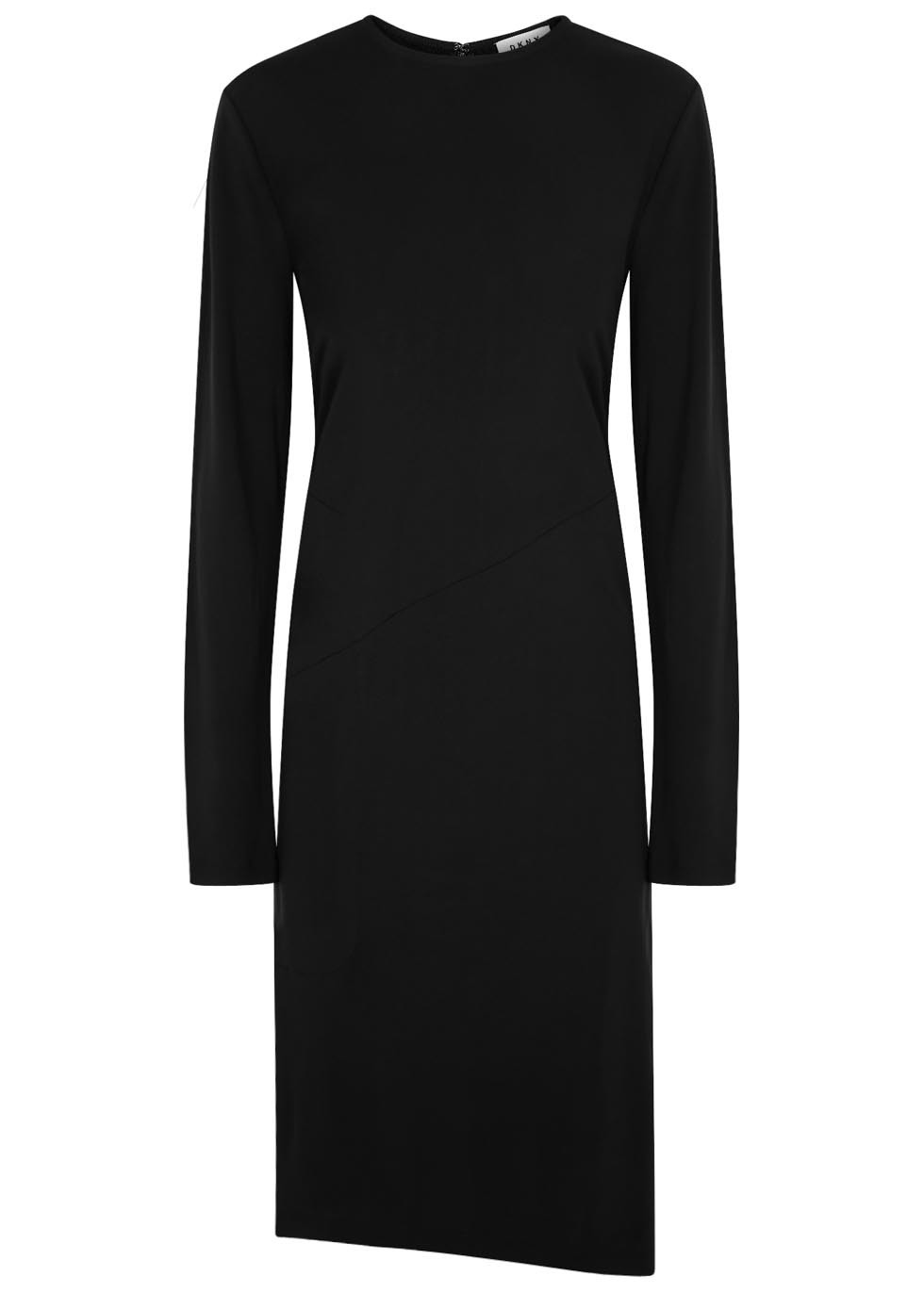 Black Jersey Crepe Dress - length: below the knee; pattern: plain; predominant colour: black; occasions: evening; fit: body skimming; style: asymmetric (hem); fibres: viscose/rayon - 100%; neckline: crew; sleeve length: long sleeve; sleeve style: standard; pattern type: fabric; texture group: jersey - stretchy/drapey; season: s/s 2016