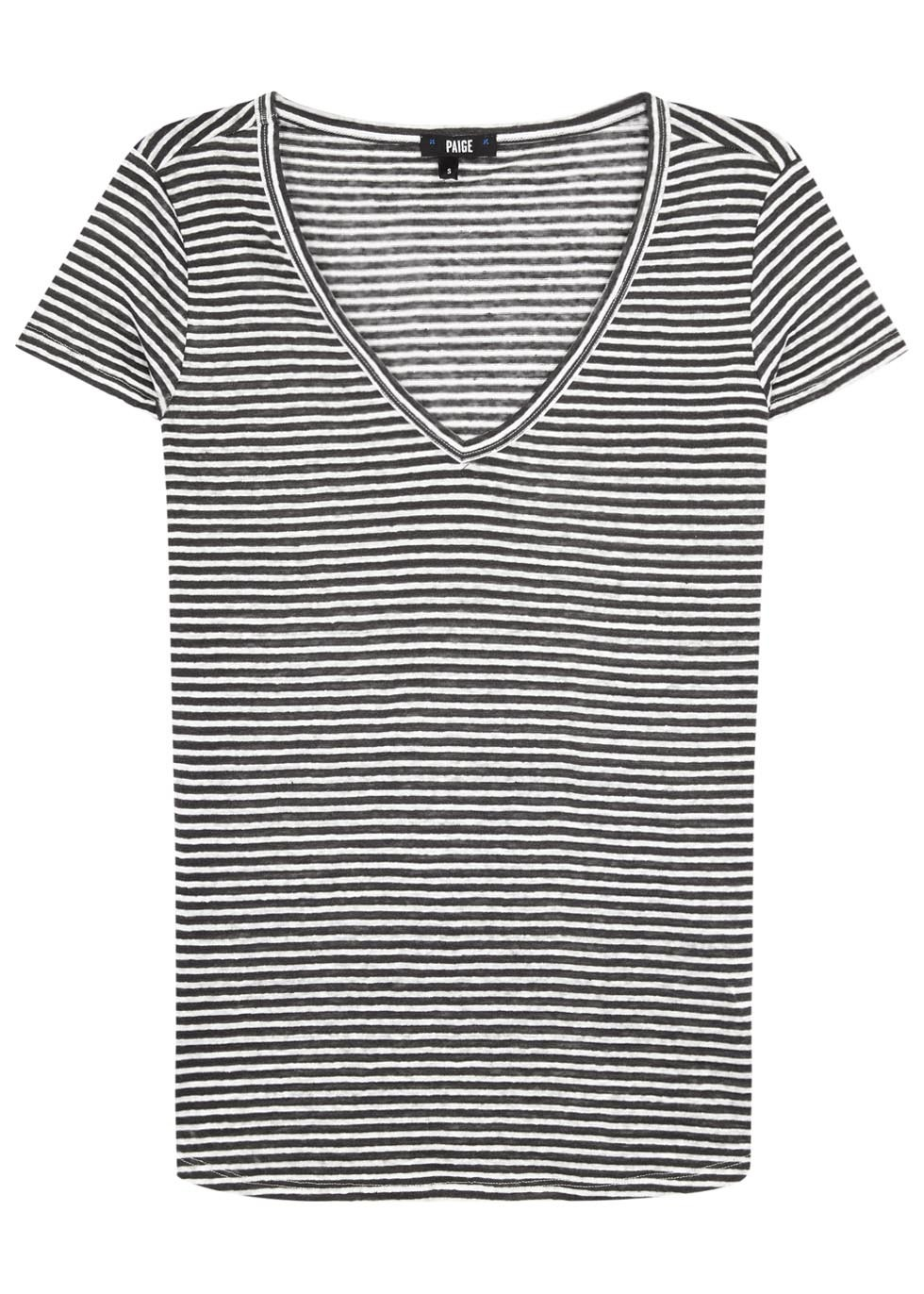 Lynnea Striped Linen T Shirt - neckline: v-neck; pattern: horizontal stripes; style: t-shirt; secondary colour: white; predominant colour: navy; occasions: casual; length: standard; fibres: linen - 100%; fit: body skimming; sleeve length: short sleeve; sleeve style: standard; texture group: linen; pattern type: fabric; multicoloured: multicoloured; season: s/s 2016; wardrobe: basic