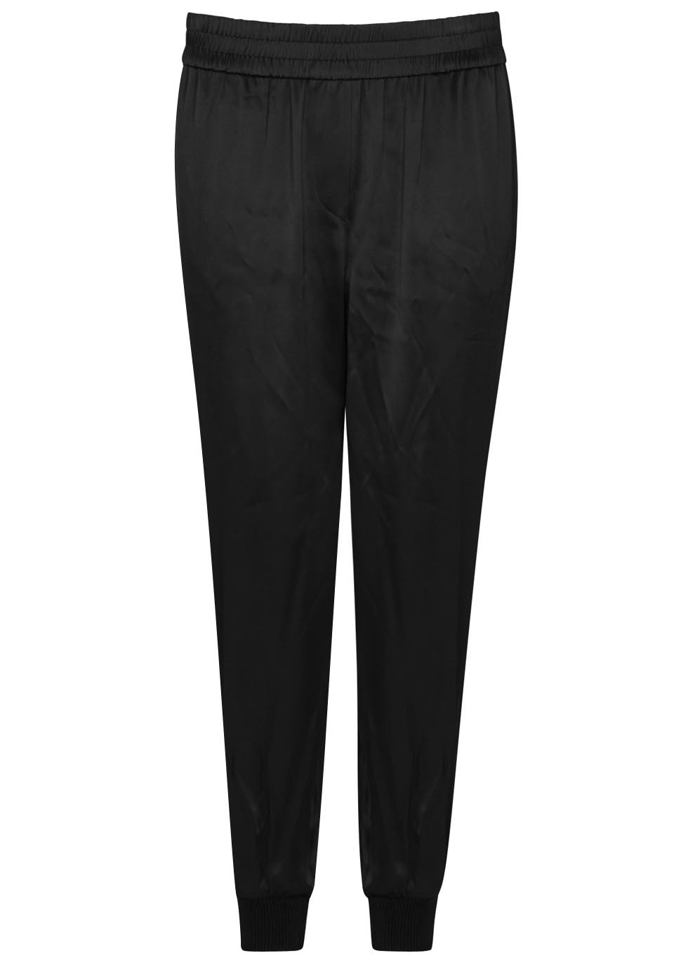 Black Satin Jogging Trousers - length: standard; pattern: plain; style: tracksuit pants; waist: mid/regular rise; predominant colour: black; occasions: casual, activity; fibres: viscose/rayon - 100%; texture group: structured shiny - satin/tafetta/silk etc.; fit: tapered; pattern type: fabric; season: s/s 2016