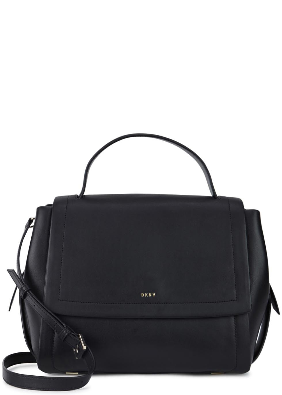 Greenwich Black Leather Shoulder Bag - predominant colour: black; occasions: casual, creative work; type of pattern: standard; style: satchel; length: across body/long; size: standard; material: leather; pattern: plain; finish: plain; season: s/s 2016