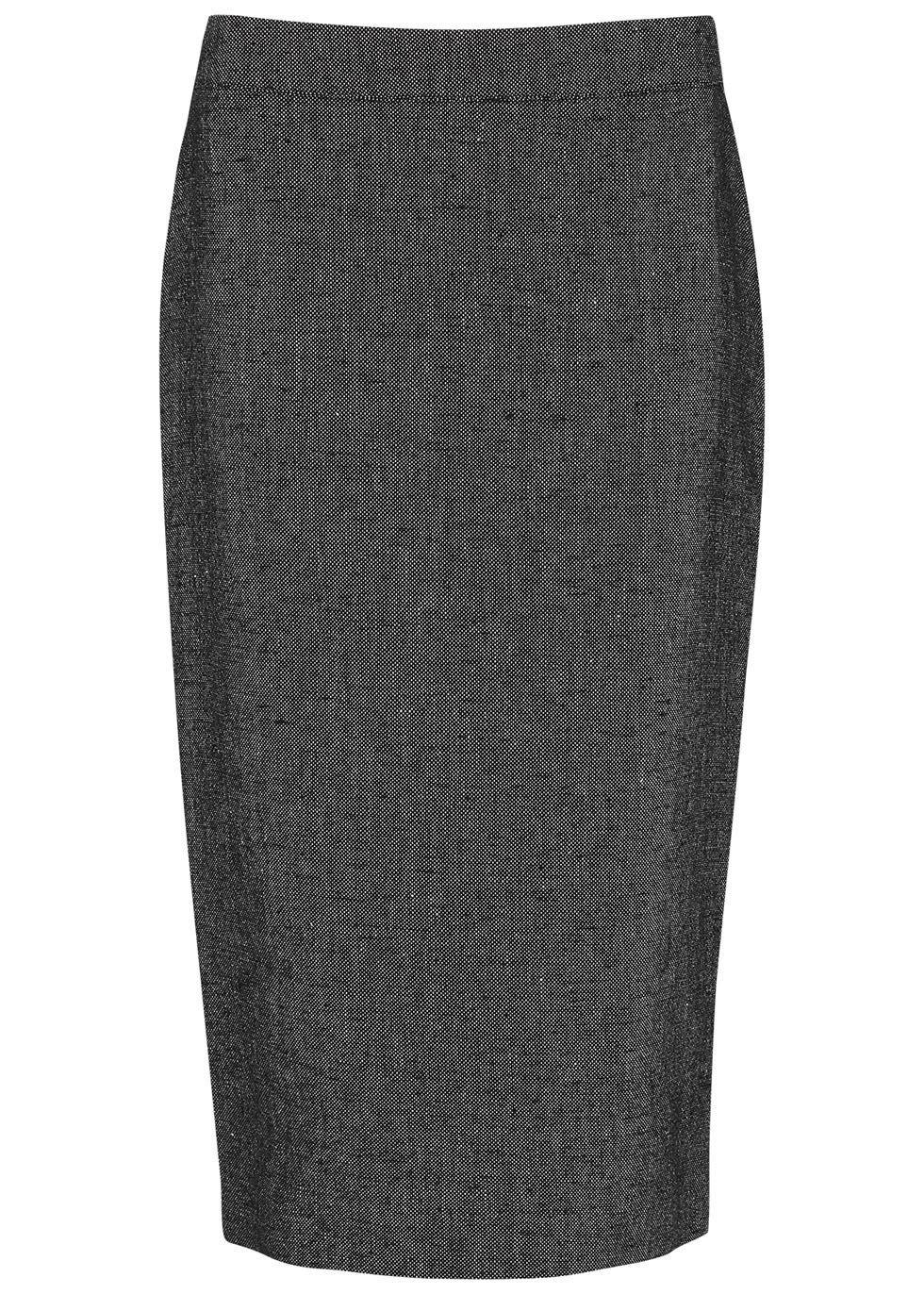 Black Linen And Crepe Pencil Skirt - pattern: plain; style: pencil; fit: tailored/fitted; waist: mid/regular rise; predominant colour: charcoal; occasions: work; length: on the knee; fibres: linen - mix; texture group: crepes; pattern type: fabric; season: s/s 2016; wardrobe: basic