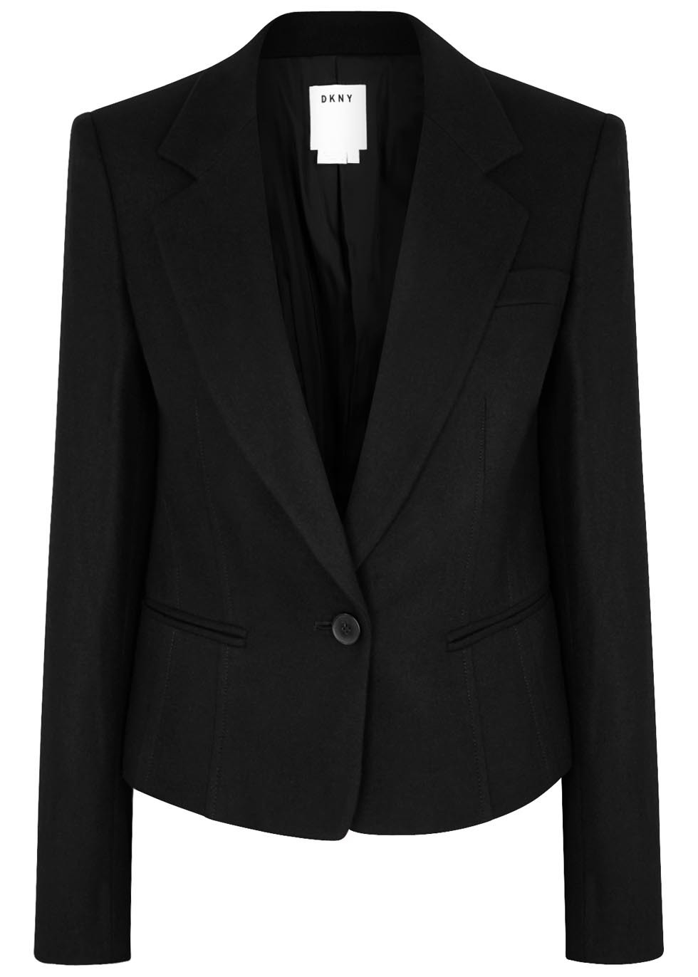 Black Cropped Wool Blend Blazer - pattern: plain; style: single breasted blazer; collar: standard lapel/rever collar; predominant colour: black; occasions: work; length: standard; fit: tailored/fitted; fibres: wool - mix; sleeve length: long sleeve; sleeve style: standard; collar break: medium; pattern type: fabric; texture group: woven light midweight; season: s/s 2016; wardrobe: investment