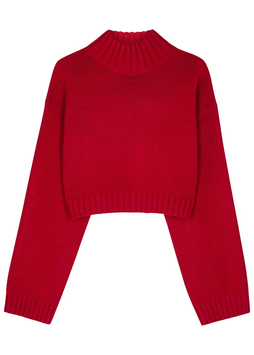 Red Cropped Wool Blend Jumper - pattern: plain; sleeve style: sleeveless; neckline: high neck; length: cropped; style: standard; predominant colour: true red; occasions: casual, creative work; fibres: wool - mix; fit: standard fit; sleeve length: 3/4 length; texture group: knits/crochet; pattern type: knitted - other; season: s/s 2016