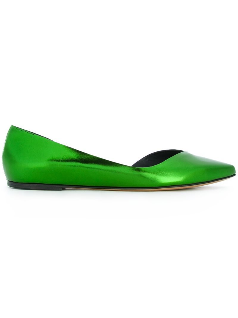 Metallic Cut Out Ballerinas, Women's, Green - predominant colour: emerald green; occasions: casual, creative work; material: leather; heel height: flat; toe: pointed toe; style: ballerinas / pumps; finish: metallic; pattern: plain; season: s/s 2016; wardrobe: highlight