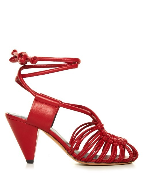 Étoile Milly Leather Cage Sandals - predominant colour: true red; occasions: evening; material: leather; heel height: mid; ankle detail: ankle strap; heel: cone; style: strappy; finish: plain; pattern: plain; toe: caged; season: s/s 2016; wardrobe: event