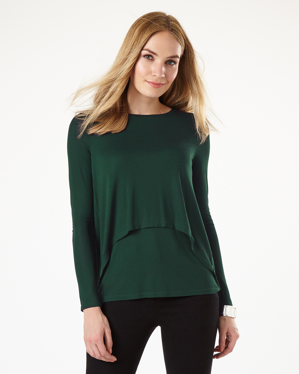 Dita Double Layer Top - pattern: plain; style: t-shirt; predominant colour: dark green; occasions: casual, creative work; length: standard; fibres: polyester/polyamide - stretch; fit: body skimming; neckline: crew; sleeve length: long sleeve; sleeve style: standard; pattern type: fabric; texture group: jersey - stretchy/drapey; season: s/s 2016