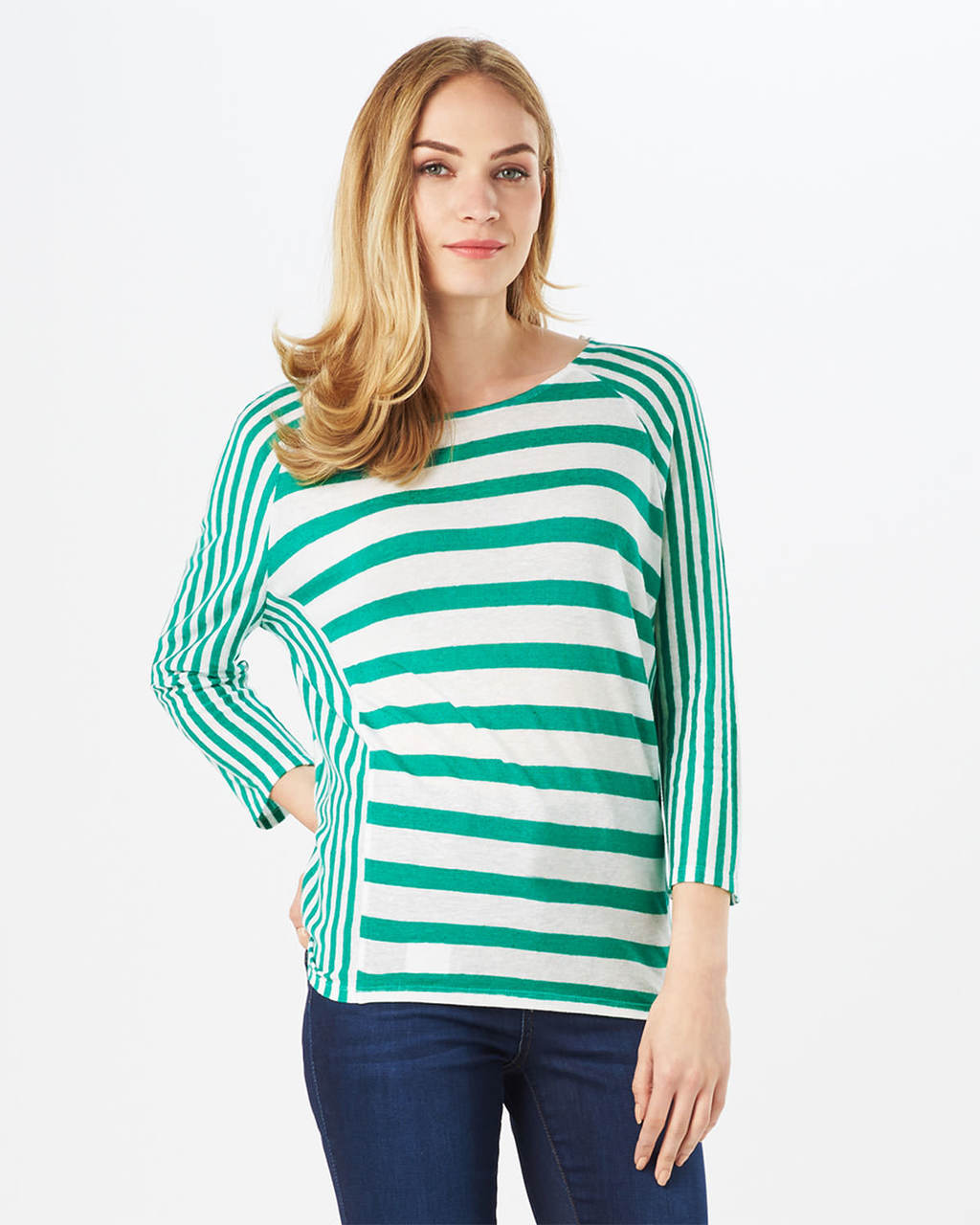 Carris Stripe Top - neckline: round neck; sleeve style: dolman/batwing; pattern: horizontal stripes; style: t-shirt; secondary colour: white; predominant colour: emerald green; occasions: casual; length: standard; fibres: polyester/polyamide - stretch; fit: body skimming; sleeve length: 3/4 length; pattern type: fabric; pattern size: standard; texture group: jersey - stretchy/drapey; season: s/s 2016