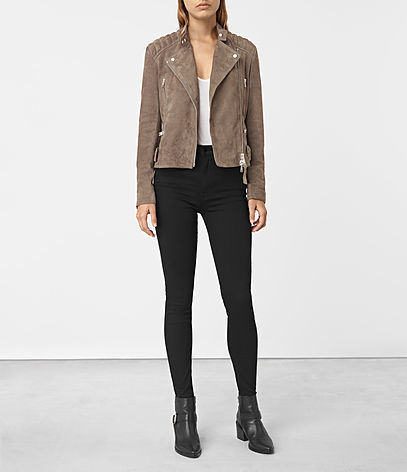 Kerr Suede Biker Jacket - pattern: plain; style: biker; collar: asymmetric biker; fit: slim fit; predominant colour: camel; occasions: casual; length: standard; fibres: leather - 100%; sleeve length: long sleeve; sleeve style: standard; collar break: medium; pattern type: fabric; texture group: suede; season: s/s 2016; wardrobe: basic