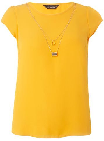 Womens Orange Chain Tee Orange - neckline: round neck; sleeve style: capped; pattern: plain; style: t-shirt; predominant colour: bright orange; occasions: casual, creative work; length: standard; fibres: polyester/polyamide - 100%; fit: body skimming; sleeve length: short sleeve; texture group: sheer fabrics/chiffon/organza etc.; pattern type: fabric; season: s/s 2016; wardrobe: highlight