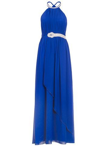 Womens *Quiz Diamante Neck Maxi Dress Blue - pattern: plain; sleeve style: sleeveless; style: maxi dress; length: ankle length; back detail: racer back/sports back; bust detail: subtle bust detail; predominant colour: royal blue; secondary colour: silver; occasions: evening; fit: fitted at waist & bust; fibres: polyester/polyamide - 100%; hip detail: subtle/flattering hip detail; sleeve length: sleeveless; texture group: sheer fabrics/chiffon/organza etc.; pattern type: fabric; embellishment: crystals/glass; season: s/s 2016; neckline: high halter neck; wardrobe: event; embellishment location: neck, waist