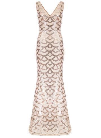 Womens **Quiz Champagne Sequin Maxi Dress White - neckline: v-neck; sleeve style: sleeveless; secondary colour: gold; predominant colour: champagne; occasions: evening; length: floor length; fit: body skimming; fibres: polyester/polyamide - 100%; style: fishtail; sleeve length: sleeveless; pattern type: fabric; pattern size: big & busy; pattern: patterned/print; texture group: other - light to midweight; embellishment: sequins; season: s/s 2016