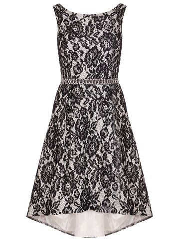 Womens **Quiz Lace Diamante Dip Hem Dress Black - neckline: round neck; sleeve style: sleeveless; waist detail: belted waist/tie at waist/drawstring; predominant colour: black; occasions: evening; length: just above the knee; fit: fitted at waist & bust; style: fit & flare; fibres: polyester/polyamide - 100%; sleeve length: sleeveless; trends: monochrome; texture group: lace; pattern type: fabric; pattern size: standard; pattern: patterned/print; season: s/s 2016; wardrobe: event