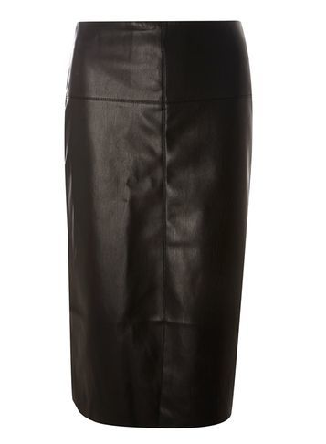 Womens Black Leather Look Front Split Skirt Black - pattern: plain; style: pencil; fit: body skimming; waist: mid/regular rise; predominant colour: black; occasions: evening, work, creative work; length: on the knee; texture group: leather; pattern type: fabric; fibres: pvc/polyurethene - mix; season: s/s 2016; wardrobe: highlight