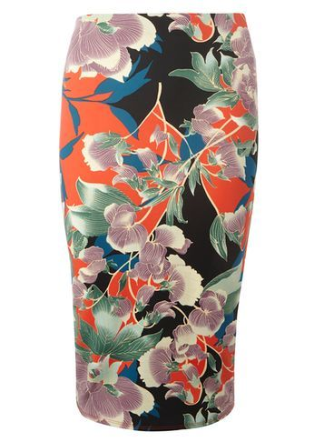 Womens Floral Scuba Pencil Skirt Green - style: pencil; fit: body skimming; waist: mid/regular rise; predominant colour: bright orange; secondary colour: black; occasions: evening; length: on the knee; fibres: polyester/polyamide - stretch; pattern type: fabric; pattern: florals; texture group: jersey - stretchy/drapey; pattern size: big & busy (bottom); multicoloured: multicoloured; season: s/s 2016; wardrobe: event