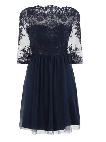 Womens *Chi Chi Londond Curve Embroidered Midi Dress Blue - neckline: slash/boat neckline; predominant colour: navy; occasions: evening; length: just above the knee; fit: fitted at waist & bust; style: fit & flare; fibres: polyester/polyamide - 100%; sleeve length: half sleeve; sleeve style: standard; texture group: lace; pattern type: fabric; pattern size: standard; pattern: patterned/print; embellishment: lace; shoulder detail: sheer at shoulder; season: s/s 2016; wardrobe: event; embellishment location: top