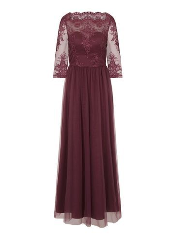 Womens **Chi Chi London Embroidered Maxi Dress Red - neckline: slash/boat neckline; pattern: plain; style: maxi dress; predominant colour: burgundy; occasions: evening; length: floor length; fit: body skimming; fibres: polyester/polyamide - 100%; sleeve length: half sleeve; sleeve style: standard; texture group: sheer fabrics/chiffon/organza etc.; pattern type: fabric; embellishment: lace; shoulder detail: sheer at shoulder; season: s/s 2016; wardrobe: event