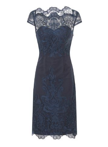 Womens **Chi Chi London Embroidered Bodycon Dress Blue - style: shift; neckline: slash/boat neckline; sleeve style: capped; fit: tailored/fitted; bust detail: sheer at bust; predominant colour: navy; occasions: evening; length: just above the knee; fibres: polyester/polyamide - 100%; sleeve length: short sleeve; texture group: lace; pattern type: fabric; pattern size: standard; pattern: patterned/print; embellishment: lace; season: s/s 2016