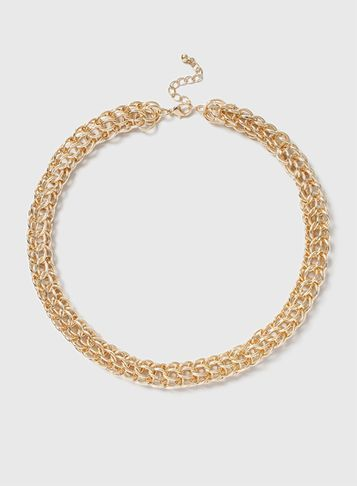 Womens Gold Linked Chain Necklace Gold - predominant colour: gold; occasions: casual; length: mid; size: large/oversized; material: chain/metal; finish: metallic; season: s/s 2016; style: chain (no pendant); wardrobe: highlight
