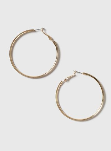 Womens Gold Glitter Hoop Earrings Gold - predominant colour: gold; occasions: casual, creative work; style: hoop; length: mid; size: standard; material: chain/metal; fastening: pierced; finish: metallic; season: s/s 2016; wardrobe: basic